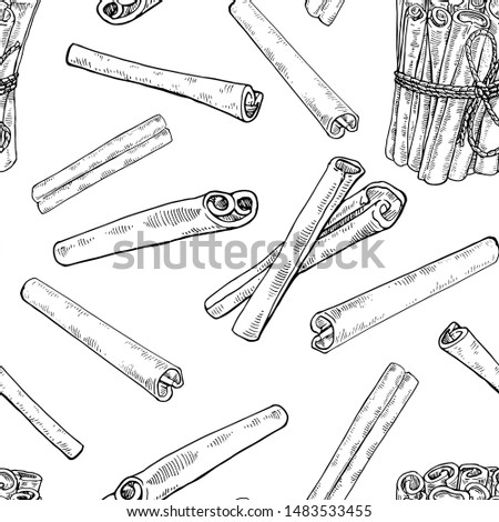 Ink Hand drawn Cinnamon seamless pattern. Vintage cinnamon sticks pattern. Stylish black and white vector illustration. Exotic spice. Endless texture. Botanical background Royalty-Free Stock Photo #1483533455