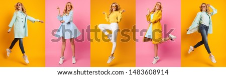 Collage Of Woman Jumping And Running On Colourful Backgrounds, Panorama Mosaic #1483608914