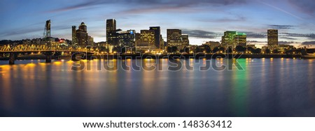 Portland Oregon Downtown Waterfront City Skyline with Hawthorne Bridge at Blue Hour Panorama