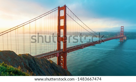 San Francisco's Golden Gate Bridge at sunrise from Marin County #1483667474