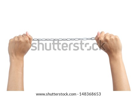 Woman hands holding a chain isolated on a white background       #148368653