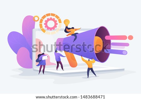 Customer attraction, social media promotion. Digital marketing team, marketing team metrics, marketing team lead, marketing team responsibilities concept. Vector isolated concept creative illustration #1483688471