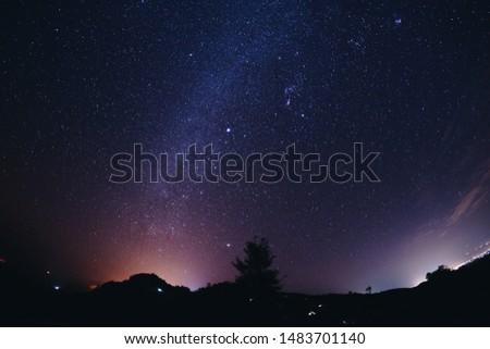 Landscape night sky stars milky way on mountains  #1483701140