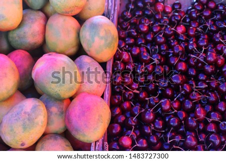 fresh fruits and vegetables are sold in a bazaar in Israel #1483727300