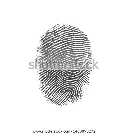 Fingerprint icon isolated on white background. Finger print flat scan. ID app icon. Fingerprint Scan Icon. #1483893272