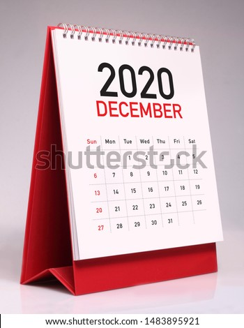 Simple desk calendar for December 2020 Royalty-Free Stock Photo #1483895921