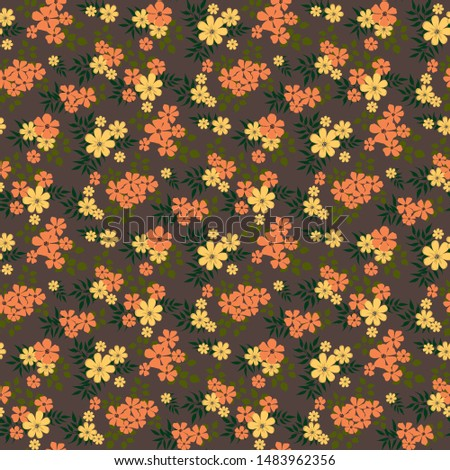 Fashionable pattern in small flowers. Floral seamless background for textiles, fabrics, covers, wallpapers, print, gift wrapping and scrapbooking. Raster copy. #1483962356