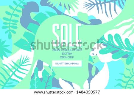 Sale website banner. Sale tag. Sale promotional material vector illustration. Design for social media banner, poster #1484050577