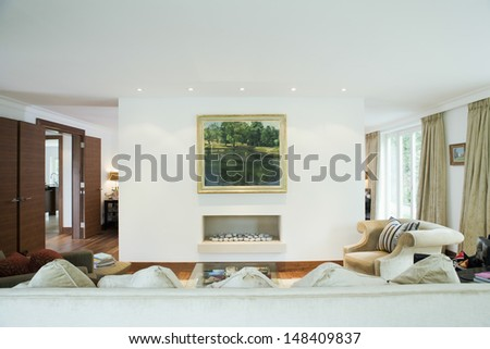 View of a modern and spacious living room