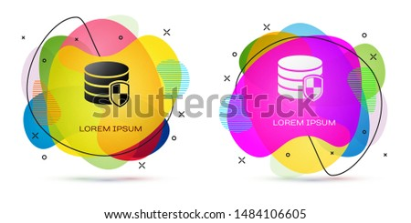 Color Database protection icon isolated on white background. Secure database icon. Abstract banner with liquid shapes. Vector Illustration #1484106605
