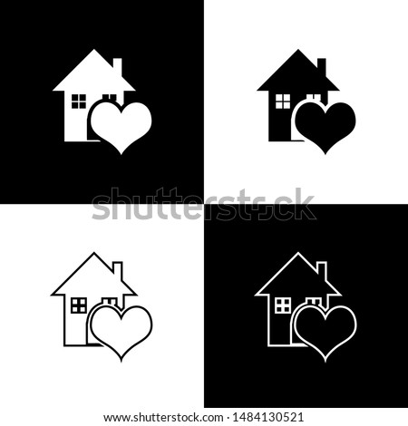 Set House with heart shape icon isolated on black and white background. Love home symbol. Family, real estate and realty.  Vector Illustration #1484130521