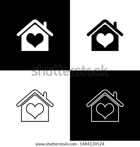 Set House with heart shape icon isolated on black and white background. Love home symbol. Family, real estate and realty.  Vector Illustration #1484130524