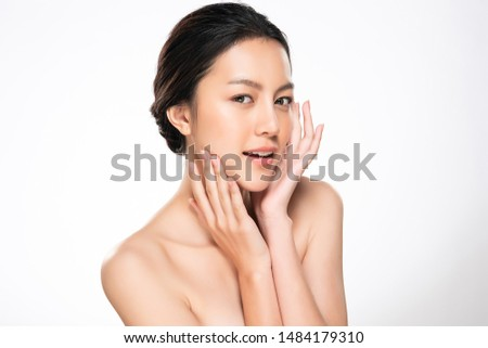 Beautiful Young Asian Woman with Clean Fresh Skin touch own face, Facial treatment, Cosmetology, beauty and spa, #1484179310