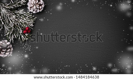 Christmas composition, blank for design - cones and decorations on a textured background, copy space, place for text