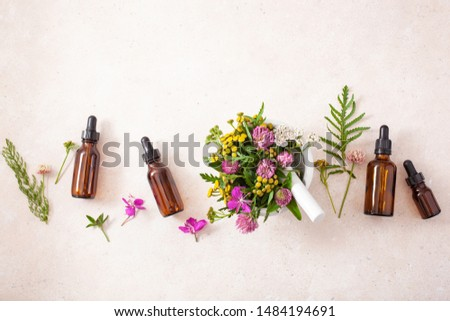 medical flowers herbs in mortar essential oils in bottles. alternative medicine. clover milfoil tansy rosebay #1484194691
