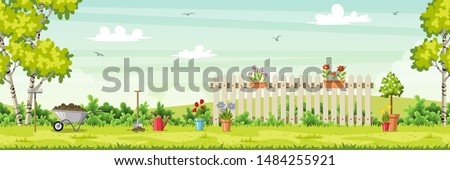 Spring landscape with garden tools, vector illustration #1484255921