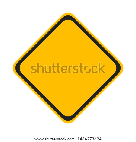 Road traffic sign, blank road sign, yellow road sign, isolated on white background, vector image #1484273624