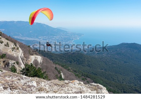 parachute flies over a cliff against the backdrop of the sea and the city #1484281529