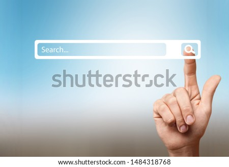 Searching Browsing Internet Data Information Networking Concept,Business man clicking internet search page on computer touch screen,copy space.