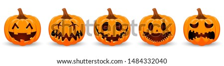 Set pumpkin on white background. Orange pumpkin with smile for your design for the holiday Halloween. Vector illustration. #1484332040