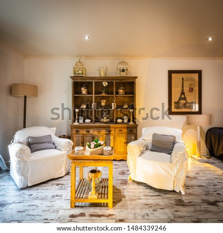20th August 2019: Interior decoration of a living room, a typical French house #1484339246