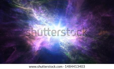 Travel in beautiful space nebula.  Royalty-Free Stock Photo #1484413403