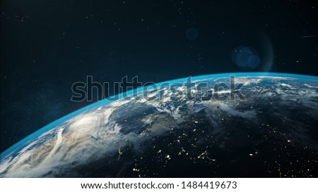Beautiful space view of the Earth with cloud formation.  Royalty-Free Stock Photo #1484419673