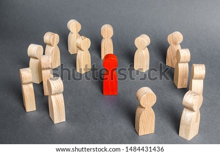 Red human figure surrounded by a group of people. Leader Boss and leadership. Cooperation and teamwork. Outcast, hated opponent, criminal. Conviction. Discrimination and violence. #1484431436
