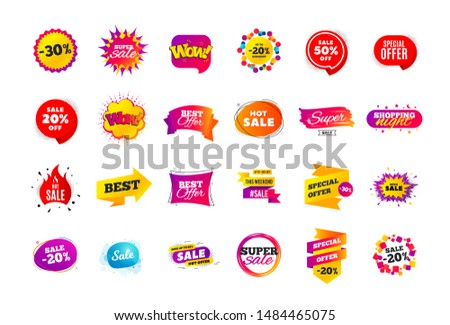 Sale banner badge. Special offer discount tags. Coupon shape templates design. Cyber monday sale discounts. Black friday shopping icons. Best ultimate offer badge. Super discount icons. Vector banners #1484465075
