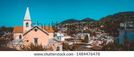 panoramic picture of church building in a village #1484476478