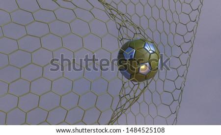 Green-blue Soccer Ball in the Goal Net under blue-white lighting with dark blue toned foggy smoke background. 3D illustration. 3D CG. High resolution. #1484525108