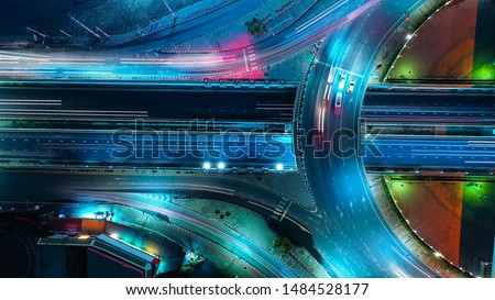 Aerial view Expressway motorway highway circus intersection at Night time Top view , Road traffic in city at thailand. #1484528177