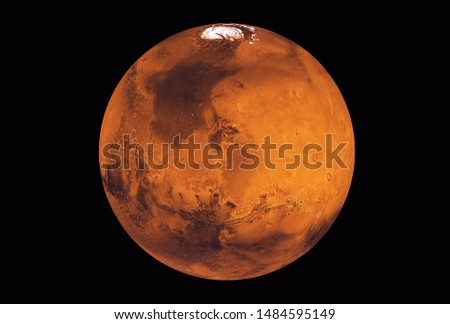 Planet Mars, with a white spot, on a dark background. Elements of this image were furnished by NASA