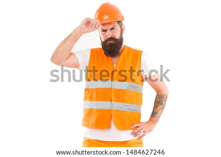 Creating solid foundation. Man protective hard hat and uniform white background. Worker builder confident and successful. Protective equipment concept. Builder enjoy success. Strong handsome builder. #1484627246