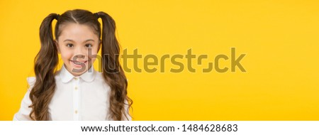 Childhood days to school. Happy little child back to school on yellow background. Childhood care and education. Creating childhood memories. Childhood concept, copy space. #1484628683