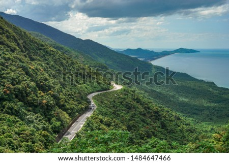 Hai Van pass, Bach Ma moutain. Curve road along the beach. Hue, Vietnam #1484647466