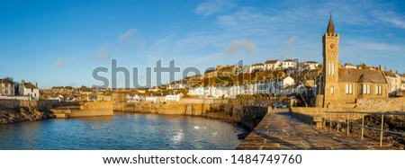 Panoramic photo of Porthleven Pier and the Bickford Smith Institute. Cornwall England UK Europe #1484749760