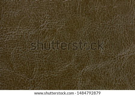 Dark bronze blue leather texture background, closeup. Brown cracked backdrop from wrinkle skin, structure of olive textile. #1484792879