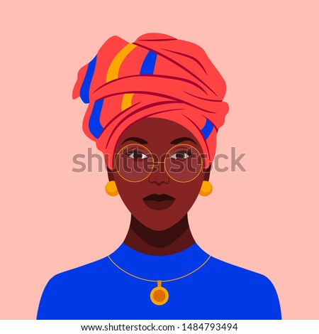 African woman in glasses and a traditional headdress. Avatar of a girl with a scarf on her head for a social network. Portrait. Vector flat illustration