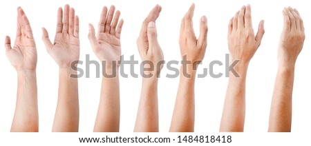 GROUP of Male asian hand gestures isolated over the white background.  Royalty-Free Stock Photo #1484818418