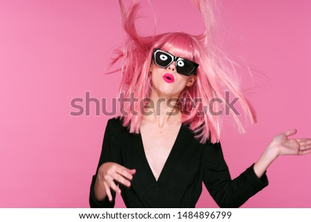 Glamorous charming woman pink hair dark glasses party model model #1484896799