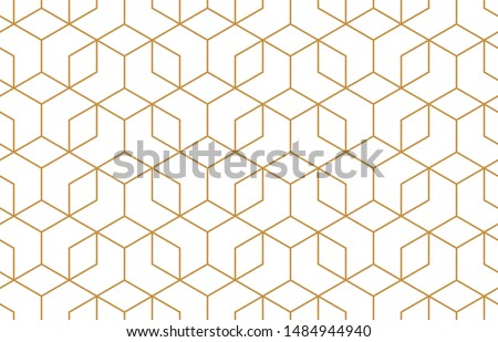 The geometric pattern with lines. Seamless vector background. White and gold texture. Graphic modern pattern. Simple lattice graphic design #1484944940