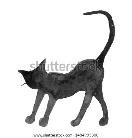 Set of hand-drawn elements painted in watercolor. Watercolor halloween collection. Artistic autumn constructor clip art. Cat, animal, cat, kitty, black cat, cat silhouette