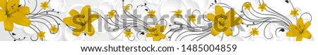 yellow lilies with a black outline #1485004859
