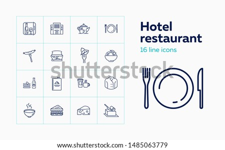 Hotel restaurant line icon set. Set of line icons on white background. Hotel, food, dish. Food concept. Vector illustration can be used for topics like hotel, restaurant, cafe Royalty-Free Stock Photo #1485063779