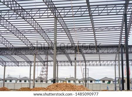 A steel framework on a construction site.                         #1485090977