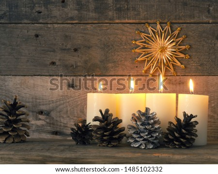 Four Advent candles are burning, fourth Advent candle burns, Christmas concept #1485102332