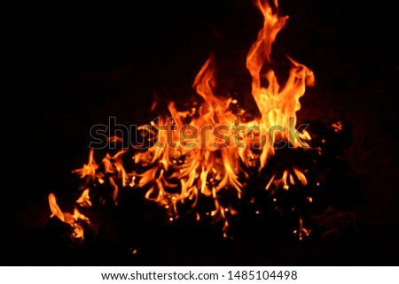 The flames of flaming flames swept through various shapes like hot, energy on a black background. #1485104498
