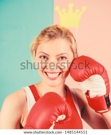 Fight for success. VIP gym. Fighting queen. Woman boxing glove and crown symbol of princess. Queen of sport. Become best in boxing sport. Feminine tender blonde with queen crown wear boxing gloves. #1485144551
