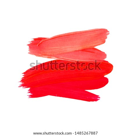 Brush Stroke. Red Acrylic Paint Stain. Stroke of the Paint Brush Isolated on White Background. Vector Illustration Space for Text. #1485267887